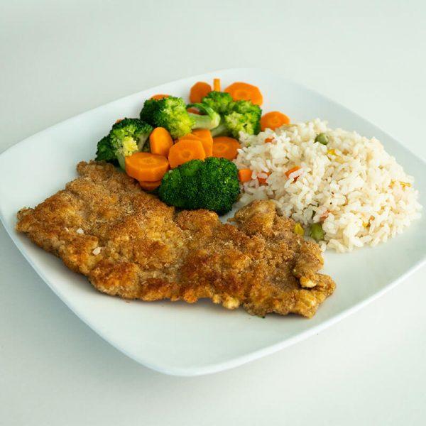 45. Milanesa de cerdo con arroz y verduras, Obento Casero