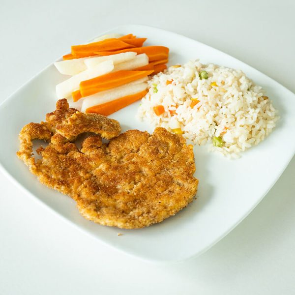 45. Milanesa de pollo con arroz y verduras, Obento Casero