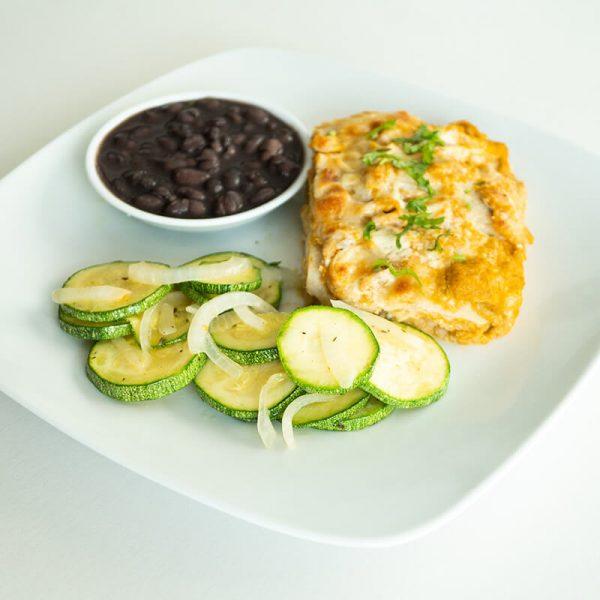 45. Pastel azteca con frijoles y calabacitas, Obento Casero